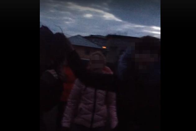 Кадр из видео избиения девушки подростками
