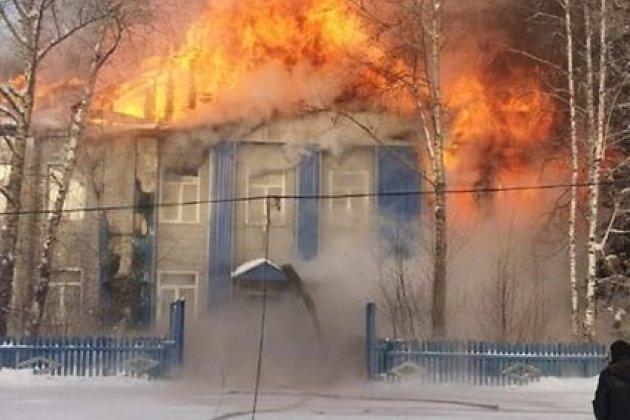 Пожар школы в селе Алексеевске