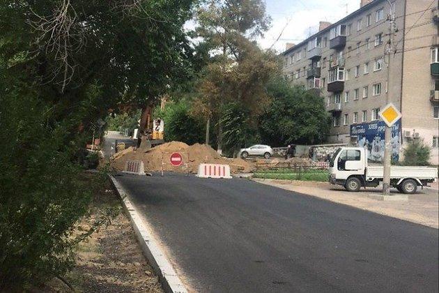 Перекрытая дорога на Бутина в Чите