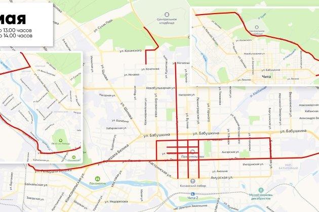 Схема перекрытия движения в Чите 7 мая