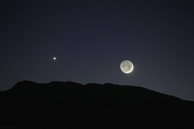 Сближение Луны с Венерой