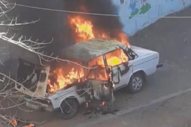 машина сгорела