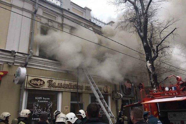 В помещении кафе «Бельгийские пекарни» вИркутске пожар