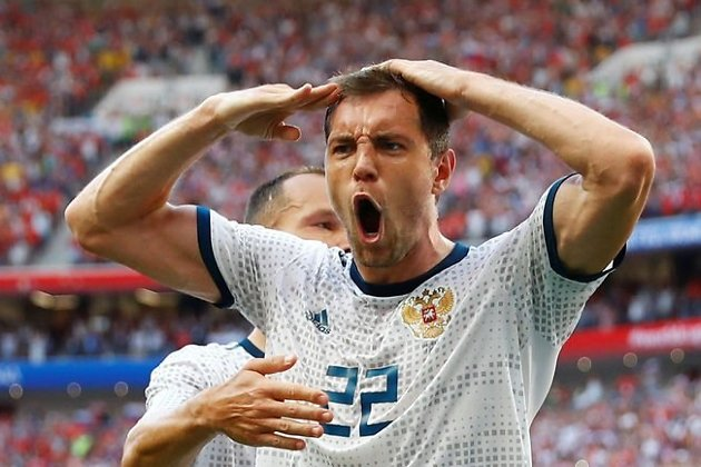 Артём Дзюба после забитого гола в ворота Испании