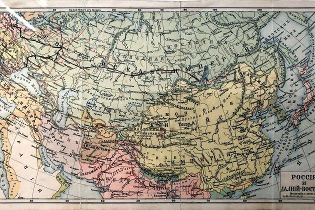 Карта Российской Иперии из дневника Цехановского путь ссылки