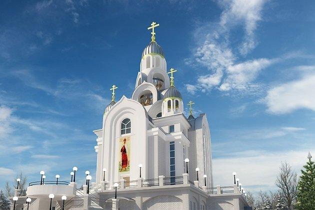 Эскизное изображение главного входа в храм