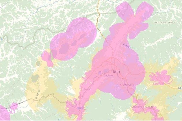 Зона покрытия Yota в Чите