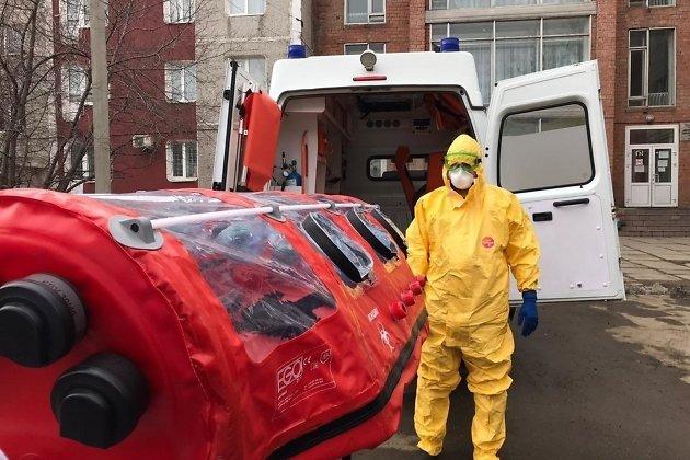 Бригада скорой помощи, оснащённая для работы с пациентами, у которых есть подозрение на коронавирусную инфекцию