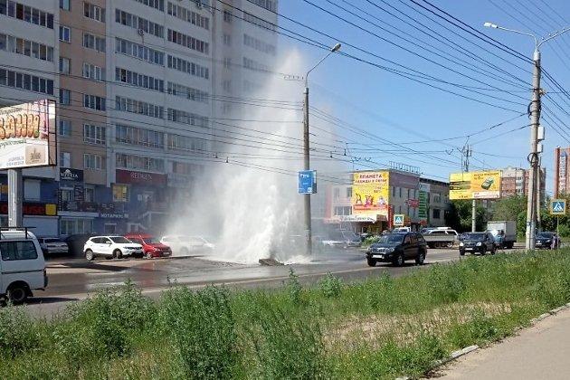 Гейзер на улице Шилова в Чите