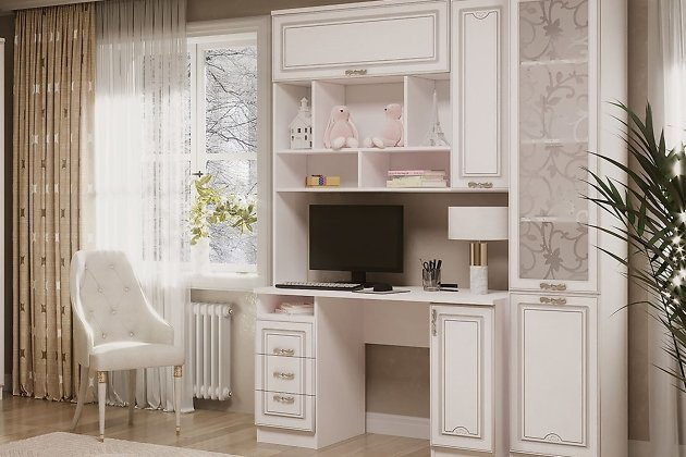 Комплект мебели (двери — МДФ в пленке матовой с патиной и фрезеровкой, декоративное стекло).