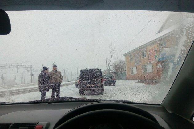 Снегопад в посёлке Оловянная