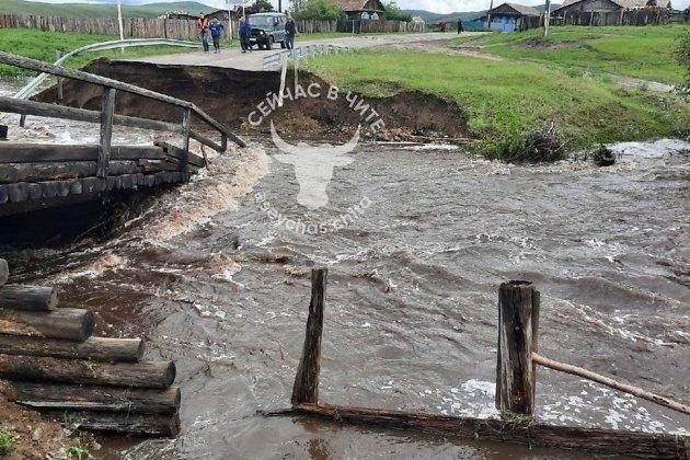 Обрушившийся мост в селе Савватеево Нерчинского района