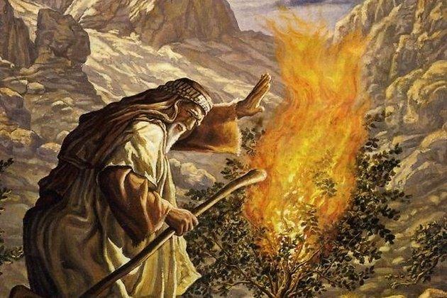 Моисей перед неопалимой купиной, в образе которой ему явился бог
