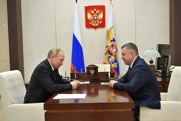 врио губернатора Иркутской области Игорь Кобзев на встрече в президента России Владимира Путина