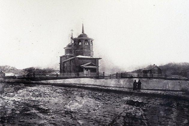 Одно из первых фото Читы и старейшая из известных фотографий Церкви декабристов.  1878 год.