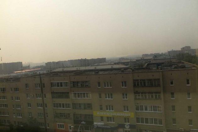 Дым над западной частью Читы