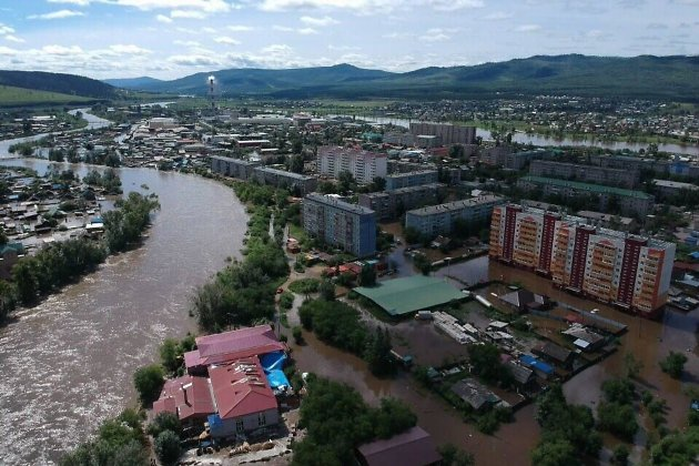 Затопленный район Остров в Чите (ТЭЦ-2 на заднем плане)