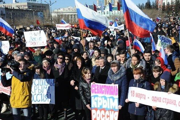 Наталья Жданова на митинге в поддержку Крыма