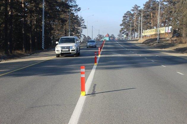 Новые противоударные сигнальные столбики на въезде в Читу