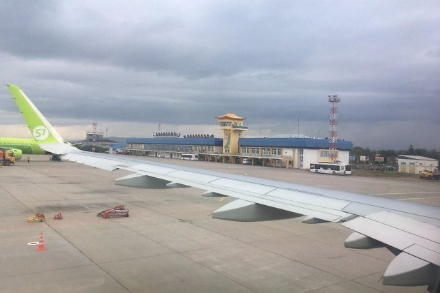 Аэропорт Улан-Удэ из окна самолёта Новосибирск - Чита