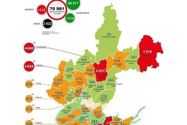 Карта распространения коронавируса в Иркутской области на 9 июня