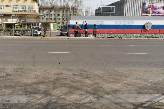 Ругательную надпись в адрес Путина на трибуне уже закрасили