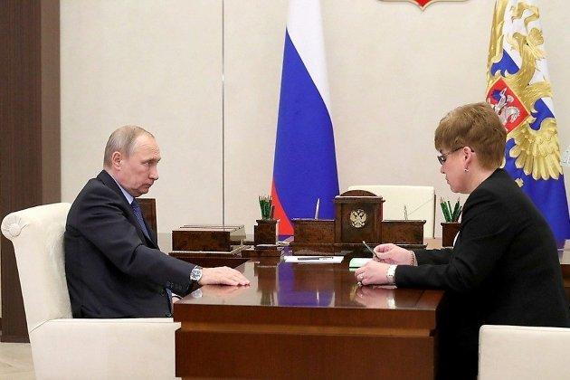 Встреча Владимира Путина и Натальи Ждановой в Кремле