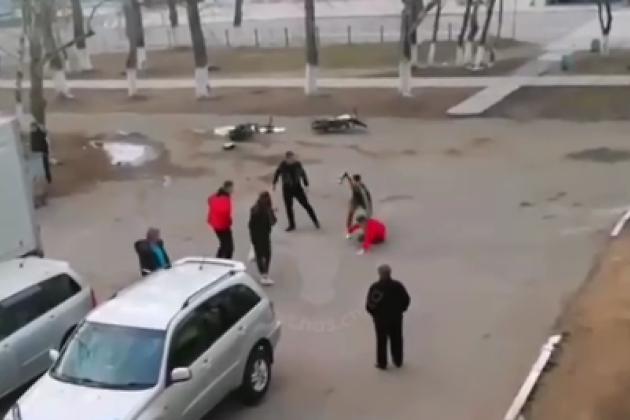 Драка мотоциклистов и автомобилистов в Краснокаменске