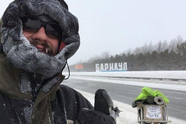 Кругосветчик Антон Шангин под Барнаулом