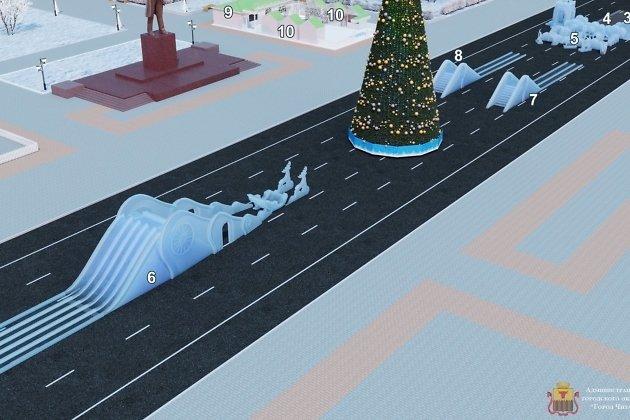 Проект ледового городка после первого обсуждения. Ледяные горки идут под цифрами 6, 7, 8