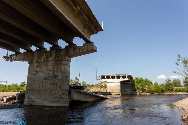 Каштактский мост в Чите, разрушенный наводнением июля 2018 года